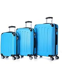 BEIBYE Koffer Farbauswahl!! 3 tlg. Reisekofferset Kofferset Trolley Hartschale (Türkis)