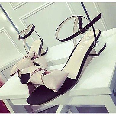 LvYuan Damen-Sandalen-Outddor-PU-Flacher Absatz-Komfort-Schwarz Rosa Grau Pink