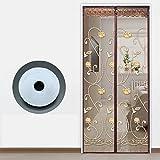 EQEQ Home Full Frame Klettverschluss Mosquito Magnet-Tür, Bildschirm Sommer Tür Mesh Schlafzimmer Hochwertige Heavy Duty Mesh-Sieb Snap Schließen automatisch - F 90 x 190 cm (35 x 75 Zoll)
