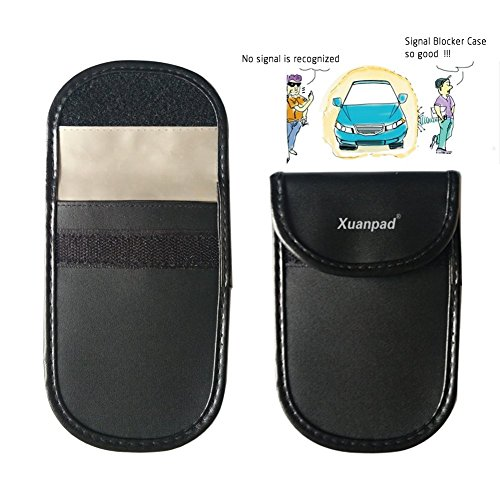 2 X Car Key Signal Blocker Case, Keyless Entry Fob Guard Signal Blocking Pouch , Antitheft Lock Devices Bag, Steering Wheel Lock And Healthy Cell Phone Privacy Protection (Black)