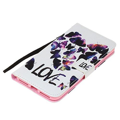 Per iphone 7 Plus / iphone 8 Plus Cover , Per iphone 7 Plus / iphone 8 Plus Custodia , Custodia Book Style Design Portafoglio per iphone 7 Plus / iphone 8 Plus, COZY HUT® Custodia per iphone 7 Plus /  Farfalla a forma di cuore