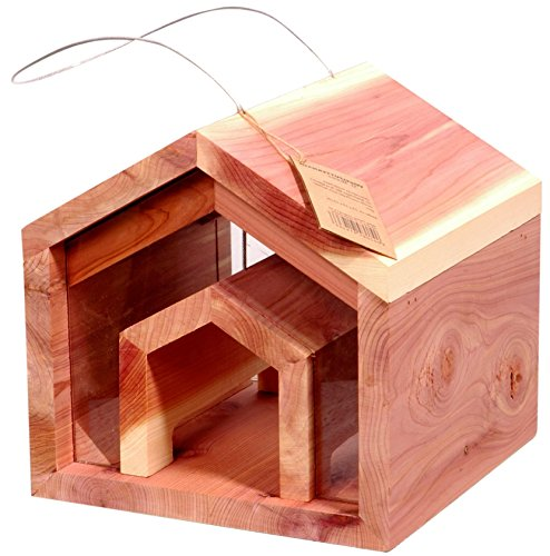 luxus-vogelhaus-91436-designorientiertes-futterhaus-aus-zedernholz-mit-leicht-rtlicher-holzmaserung-