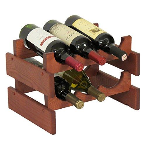 Wooden Mallet Angelregal aus Holz mit 5 Ruten 6 Flasche Mahagoni -