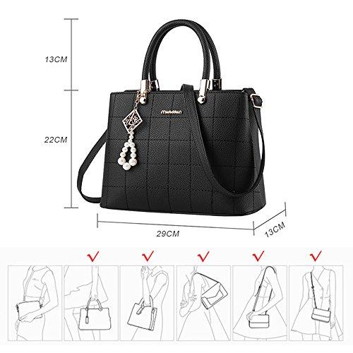 handtaschen damen Schwarz groß Leder Damen Schultertasche Frauen  Umhängetasche (Schwarz) Schwarz ...