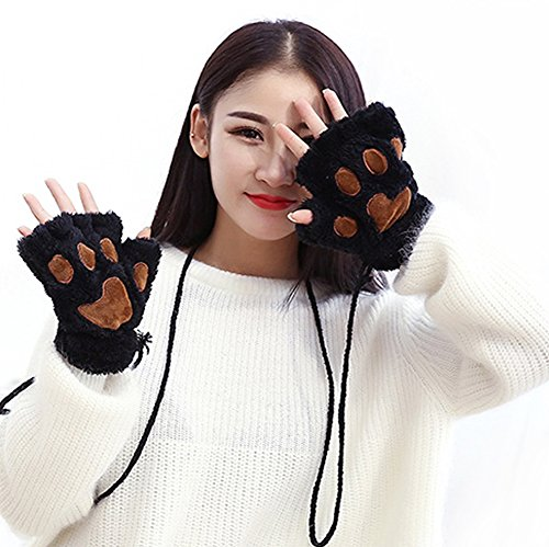Mädchen Damen Winter Half Finger Handschuhe Fäustling, weich warm Plüsch flauschig dicker Bärentatze Handschuhe Cartoon Cosplay Kostüm Kleid Handschuhe, Handwärmer Weihnachten Geschenk One size (Cat Bear Kostüm)