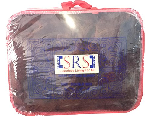 SRS Brown Floral Double Bed Blanket ( Comes with a complimentary stylish SRS carry bag)- FREE ONE DAY DELIVERY