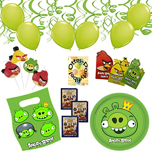 HHO Angry-Birds-Deko-Set 118tlg. für 12 Kinder Einladung Tüten Luftballons Kerzen Spiralen Sticker Snackteller (Luftballons Angry Birds)