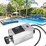 Pbzydu Termostato per riscaldatore da Piscina 3KW, termostato per scaldabagno Impermeabile Digitale Intelligente in Acciaio Inossidabile per Vasca Spa Piscina Massaggio(Unione Europea)