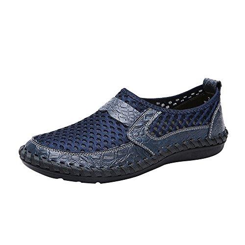 JYJM Freizeitschuhe Atmungsaktive Herren Mesh Outdoor Sneakers Schuhe Herren Slipper Mode Flach Low-Top-Schuhe Turnschuhe rutschfest Bequeme Strandschuhe (46, B-Blau)