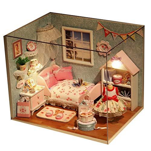 YWJHY Kreatives DIY-Hut-Glück handgemachtes zusammenbauendes vorbildliches Haus-Gebäude-Geburtstags-Geschenk,Rosa,Einheitsgröße