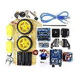 sdfghzsedfgsdfg R3 SG90 2WD intelligenter Roboter UNO-Projekt Smart Car Kit Fernbedienung Spielzeugauto für Kinder elektronischen Bausätze für Arduino gelb
