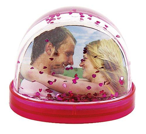 2er Set Schüttelkugel Schneekugel für ein Foto Bilderrahmen rot & pink