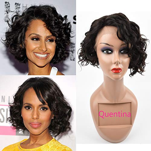 Brazilian Curly Human Hair Lace Front Wigs Unprocessed Kinky Curly Human Hair Wigs with Baby Hair 150% Density Natural Color 10 Inch -