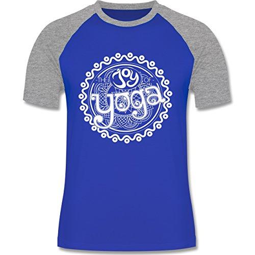 Wellness, Yoga & Co. - The joy of yoga - zweifarbiges Baseballshirt für Männer Royalblau/Grau meliert