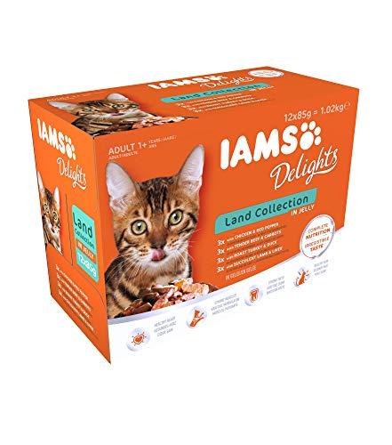 IAMS Delights Land Collection in Gelee - Hochwertiges Katzenfutter nass für Katzen ab 1 Jahr in verschiedenen Geschmackssorten - 12 x 85g Frischebeutel