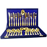 SHIV SHAKTI ARTS Handmade Best Quality Authentic Brass 27 Pieces Cutlery Set - Kitchen Dining Home Decorate Gift Item Spoons , Forks And Butter Knifes Set