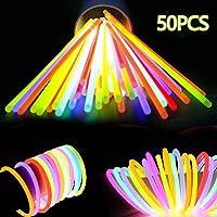GOLDGE 50pcs Glow Sticks Party Packs Glow Stick Bracelets Glow in the Dark