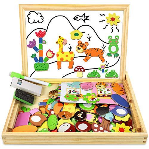 Cooljoy puzzle magnetico legno, giocattolo di legno con lavagna double face graffiti, educativo regalo per bambini 3 anni 4 anni 5 anni, quasi 100 parti colorate (animale)