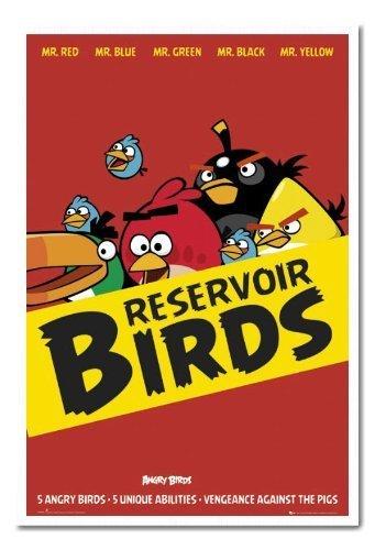 Angry Birds serbatoio uccelli Poster Sughero Pin Lavagnetta Bianco Con cornice-96.5x 66cms (circa 96,5x 66cm)