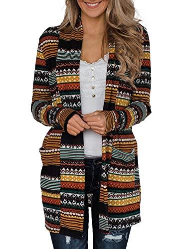 Astylish Langarm Strickjacke Damen Cardigan Strickcardigan/Strickmantel mit Tasche und Ellbogenaufnähern/Geometrisches Muster (S-2XL)