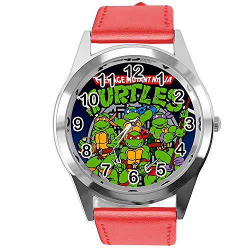 TAPORT® Reloj de Cuarzo Rojo Correa de Cuero Redondo para Adolescentes Mutantes Ninja Turtles Ventiladores...