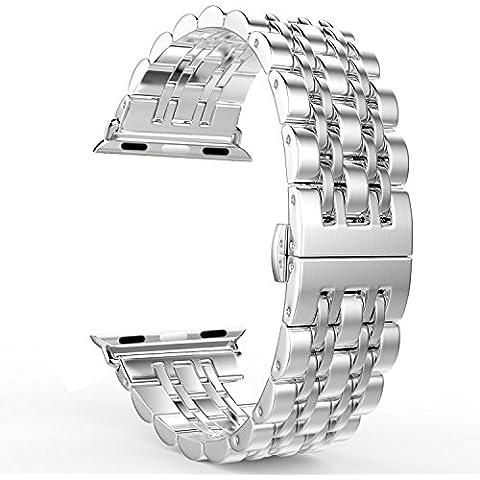 MoKo Apple Watch 38mm Cinturino, Braccialetto in Acciaio Inossidabile con Chiusura Pieghevole per Apple Watch 38mm di Series 1 2015 & Series 2 2016 - ARGENTO (Non Adatto a 42mm)