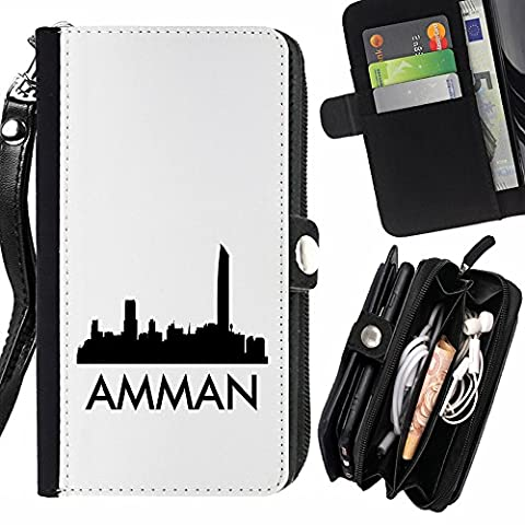 STPlus Amman, Jordan City Skyline Silhouette Postcard Wallet Card Holder with Strap and Zipper Cover Case for LG