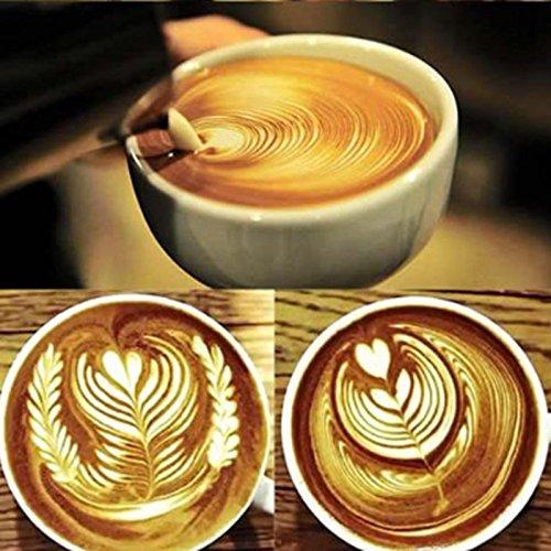Lintimes Edelstahl Milchschaum by 350ml japanischen Stil, für Barista Cappuccino Espresso - 3