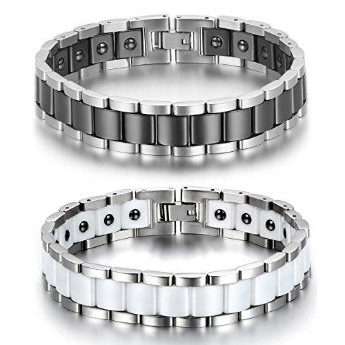 JewelryWe Schmuck 2pcs Herren Magnet Armband, Edelstahl Keramik, Fashion I Rechteck Link Magnetarmband Armreif, Silber Schwarz Weiß