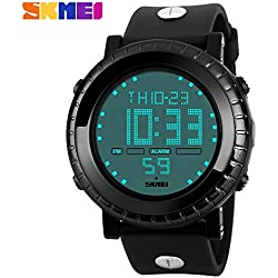 Outdoor fashion sports waterproof watch sports watches mountain climbing scratch Japanese electronic movement table male watch 50m waterwroof sport watch(Black)