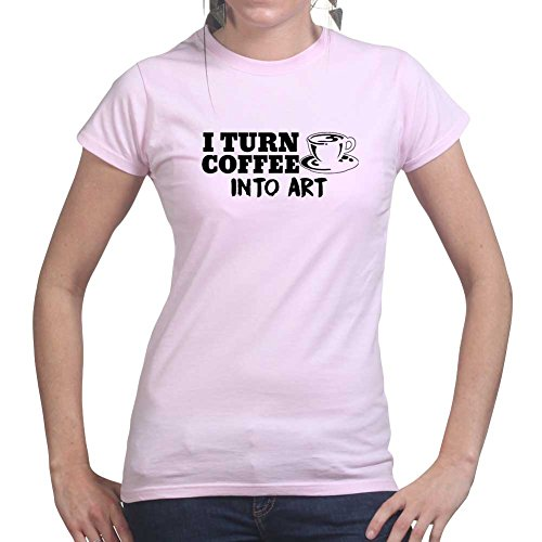Womens Coffee To Art Canvas Drawing Wall Ladies T Shirt (Tee, Top) Pink
