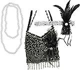 20er Jahre Set Charleston Perlenkette Tasche und Stirnband mit Strass und Perlen