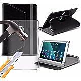 Spyrox - Lenovo Tab 2 A7-30 ( 7 Inch ) Tablet-Hülle PREMIUM PU 360 Rotierende Leder-Brieftasche Folio Faux 4 Springs Stand mit gehärtetes Glas LCD-Display Schutzfolie-Black