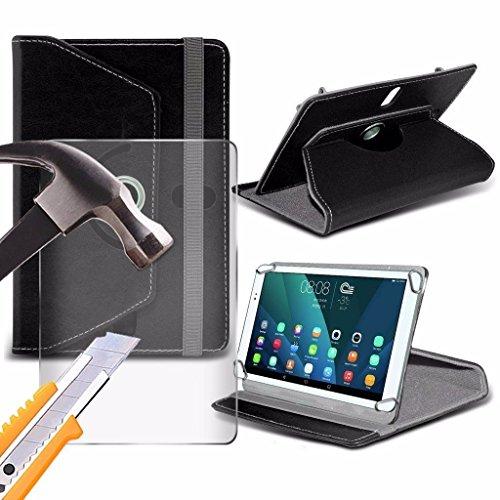 Spyrox - Amazon Fire (7 inch) Tablet- Hülle Premium PU 360 Rotierende Leder-Brieftasche Folio Faux 4 Springs Stand mit gehärtetes Glas LCD-Display Schutzfolie -Black - Black Fire Glas