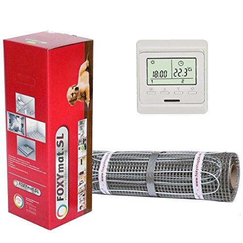 FOXYSHOP24-elektrische Fußbodenheizung PREMIUM MARKE FOXYMAT.SL (160 Watt pro m²) mit Thermostat QF-WHITE ,Komplett-Set 2.0 m² (0.5m x 4m)