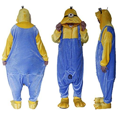 Unisex nightwear and pyjamas Outdoor top one Augen Polar Fleece Despicable Me Gelb und Blau Minions Einteiler Cosplay Kostüm Hoodies/Schlafanzug/Sleep Wear XL ()