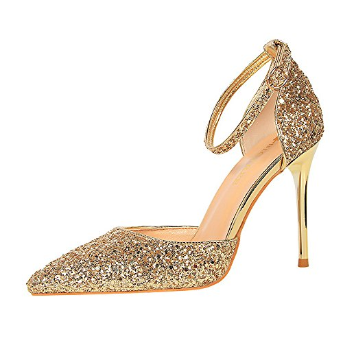 LIANGXIE Women es Slip On Pointed Stiletto Toe Heel Pumps Ankle Strap High-Heeled Shoes Girls Sexy Hollow Black Heeled Glitter Bar Shoe,Gold,35