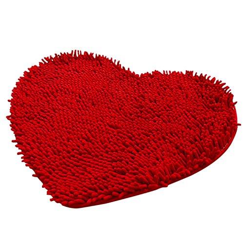 Felpudos de Baño Chenille mullida para Dormitorio(En forma de corazó