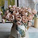 Ramo de flores artificiales de seda para decoración de bodas, fiestas y Navidad, café, Tamaño libre