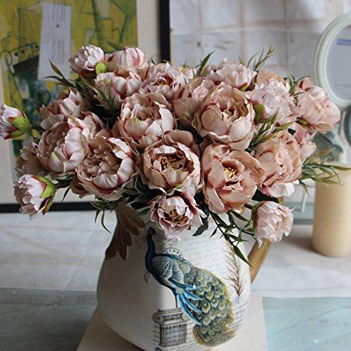 Woopower - fiori artificiali, 1mazzo, 8peonie in seta, decorazione per festa, matrimonio, casa, seta, coffee, taglia unica