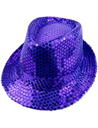 dd7ff12500c LOCOMO Women Girl Fedora Trilby Homburg Stetson Short Brim Sequin Glitter  Hat Dance Dancer Stage Party