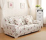 Sofa für 2-Sitzer-Sofa Schonbezug Stretch Elastic Pet Dog Polyester-Couch Displayschutzfolie-Soft Couch Cover Floral Print Bettüberwurf, white rose, 4 Seater:235-300CM