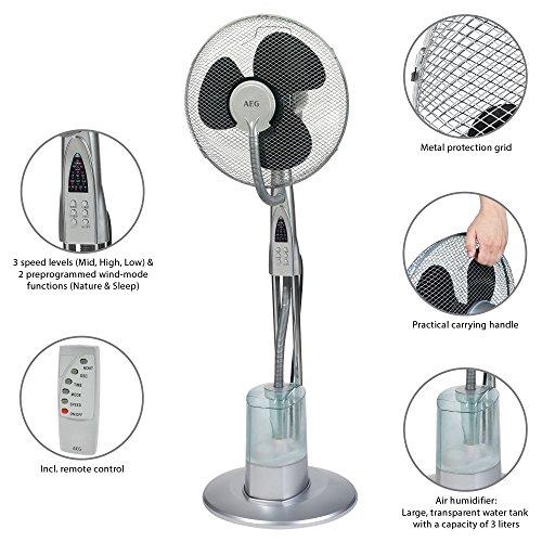 AEG VL 5569 LB - Ventilador de pie con nebulizador de agua con ultrasonido, mando distancia, oscilante, 40cm (3 l, 3 velocidades, 2 modalidades de ventilación)
