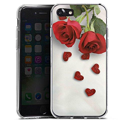 Apple iPhone X Silikon Hülle Case Schutzhülle Rose Roses and Hearts Herz Silikon Case transparent
