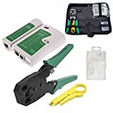 Justop Pro cavo di rete Ethernet RJ45tester Crimping Crimper Stripper cutter Tool kit 10x...
