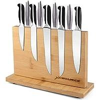Sunix Support magnétique pour couteaux avec aimant puissant Porte-couteaux magnétique en bois de bambou naturel, support…