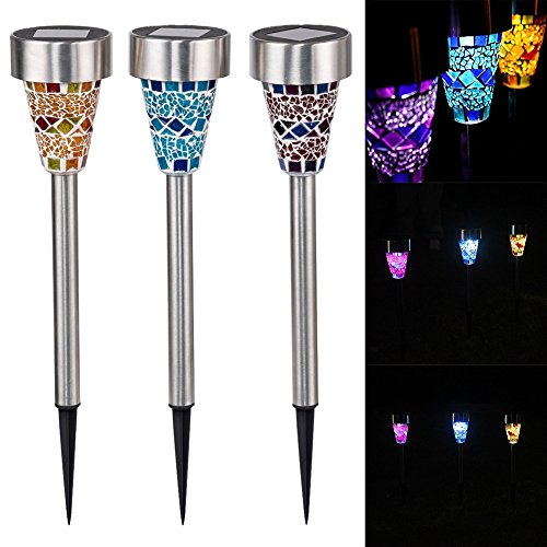 Reefa 3 Pack Garden Outdoor LED Solar Power Landscape Path Lamp Yard Mosaic Lights