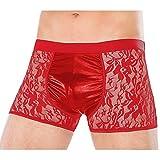 IWEMEK Männer Sexy Dessous Unterwäsche Herren Transparente Wetlook Kunstleder Slips G-Strings Tanga Erotik Reizwäsche Unterhosen Netzgarn Mesh Netz Boxershorts Bikini Unterwäsche Kostüm #B Red 2XL