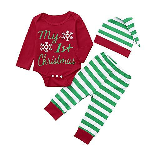 Weihnachten Jungenbekleidung Mädchenbekleidung Neugeborene Baby Boy Girl Bekleidungssets Strampler Tops + gestreifte Hose + Hut Weihnachten Outfits Set Felicove (Weihnachts Top Hut)