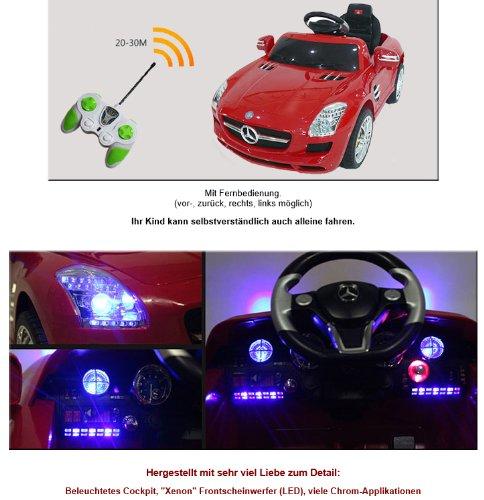 RC Auto kaufen Kinderauto Bild 3: crooza *2X Motoren* Soft-Start Original Mercedes-Benz AMG SLS Lizenz Kinderauto Kinderfahrzeug (ROT)*